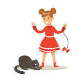 Funny little girl in red dress playing with black cat. Colorful cartoon character vector Illustration Royalty Free Stock Photos