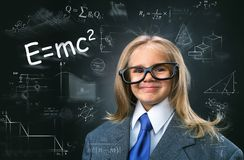 Funny little girl-scientist Royalty Free Stock Photos
