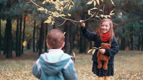 Funny little girl shakes branch of tree and yellow autumn leaves fall from it her younger brother tries to make how she. Cute, funny little girl with teddy bear stock video