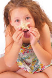 Funny little girl with starfish Stock Photography