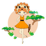 Funny little girl in a suit of lion. Cute little girl in a suit of lion with a vase. Character design illustration. Forest background. Halloween. Masquerade Stock Photography