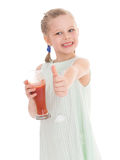 Funny little girl with the thumb up Stock Photos