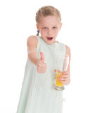 Funny little girl with the thumb up Royalty Free Stock Image