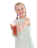 Funny little girl with the thumb up Royalty Free Stock Images