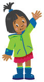 Funny little girl waving by hand stock illustration
