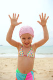 Funny little girl wearing swimsuit Royalty Free Stock Photography