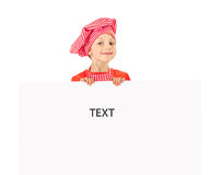 Funny little girl with white blank slate Stock Photography