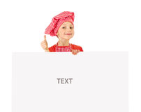 Funny little girl with white blank slate Stock Photo