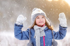 Funny little girl at winter Royalty Free Stock Photos