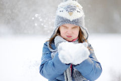 Funny little girl at winter Stock Photography