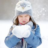 Funny little girl at winter Royalty Free Stock Images