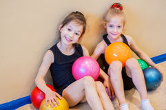 Funny little gymnasts Royalty Free Stock Image