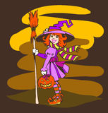 Funny Little Halloween Witch with Pumpkin Stock Photos