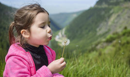 Funny little happy girl on the mountain top  blowing on dandelion Stock Photo