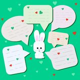 Funny little hare with big eyes. Surprised Rabbit with chat cloud or with spoken bubbles. Little rabbit on mint background. vector illustration