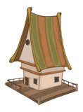 Funny Little House cartoon. Small small house with a striped roof stock illustration