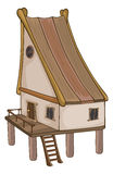 Funny Little House cartoon. The small wooden house with a ladder Stock Images