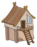 Funny Little House cartoon Stock Images
