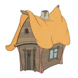 Funny Little House cartoon. The small wooden house with a yellow roof Stock Photography