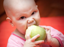 Funny little hungry baby eats green apple Royalty Free Stock Photos
