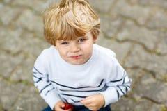 Funny little kid boy eating fresh organic strawberries Stock Photography