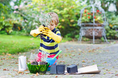 Funny little kid boy planting flowers in garden on sprinig Stock Images