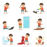 Funny little kid playing games and making mess Stock Photography
