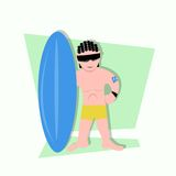 Funny little kids being surfer ready to surf Stock Photo