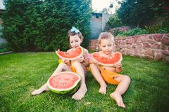 Funny little kids brother and sister eating watermelon on green grass near inflatable pool in yard at home. Toddler boy and girl. Children eat fruit in garden stock image