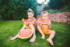 Funny little kids brother and sister eating watermelon on green grass near inflatable pool in yard at home. Toddler boy and girl. Children eat fruit in garden stock photos