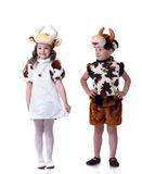 Funny little kids posing in carnival costumes Stock Photos