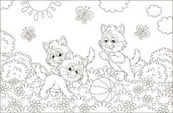 Funny little kittens playing with a ball vector illustration