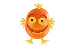Funny little laughing orange like chicken Stock Photography