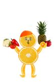 Funny little man made of the orange slices stock photography
