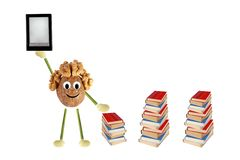 Funny little man of the walnut compares e-book and simple books Stock Photo