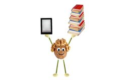 Funny little man of the walnut compares e-book and simple books Stock Images