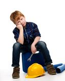 Funny little mechanic boy Stock Photography