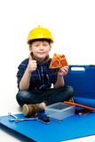 Funny little mechanic boy Stock Photo