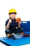 Funny little mechanic boy Stock Photo