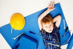 Funny little mechanic boy Royalty Free Stock Photography