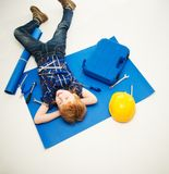 Funny little mechanic boy Royalty Free Stock Photo