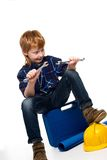 Funny little mechanic boy Stock Photos