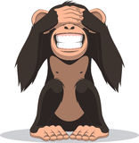 Funny little monkey. Vector illustration, funny little monkey sitting with eyes closed Royalty Free Stock Photo