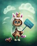 Funny little owl. Dressed like a unicorn Stock Illustration