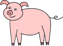 Funny little pig pink vektor piglet stock illustration