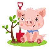 Funny Little Pig Vector. Cute Pig Gardener Funny Cartoon Animal Vector Illustration. Piggy Gardener`s Supply vector illustration