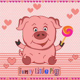 Funny little pig. Vector pattern. Funny little pig drawing by hand, cartoon, happy. Vector pattern for baby clothes Royalty Free Stock Photography