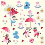 Funny little raccoons and kitty with pink umbrellas, butterflies, flowers and hearts isolated on light yellow background. Endless pattern for children. Vector royalty free illustration