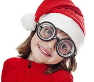Funny little santa with a big glasses Royalty Free Stock Images