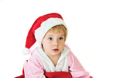 Funny little Santa girl Royalty Free Stock Photos